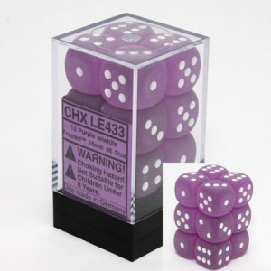 Chessex: Frosted Purple/White D6 16mm per stuk
