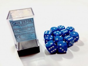 Chessex: Dobbelsteen Water Speckled Blue - witte stippen 16 mm per stuk