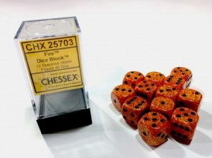 Chessex: Fire Speckled Orange - zwarte stippen 16mm per stuk