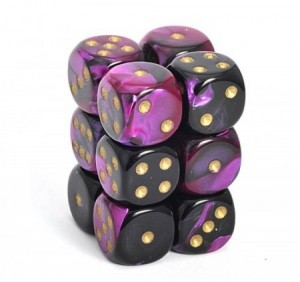 Chessex: Gemini Black Purple dobbelsteen - gouden stippen 16mm per stuk