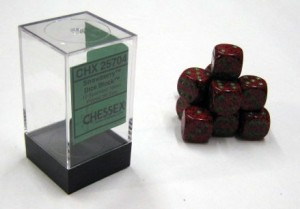 Chessex: Dobbelsteen Strawberry Speckled - groene stippen 16mm per stuk