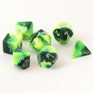 Chessex: Green Yellow / zilver polydice set 7 dobbelstenen
