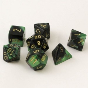 Chessex: Gemini Black Green / gold polydice set 7 dobbelstenen