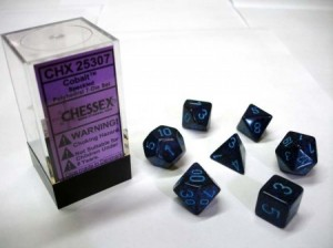 Chessex: Cobalt Speckled / blue polydice set 7 dobbelstenen