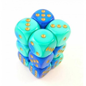 Chessex: Blue Teal / gold dobbelsteen 16mm per stuk